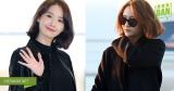 Cùng tóc ngắn trang phục đen ra sân bay, Yoona được khen nức nở còn Krystal bị chê kém sắc